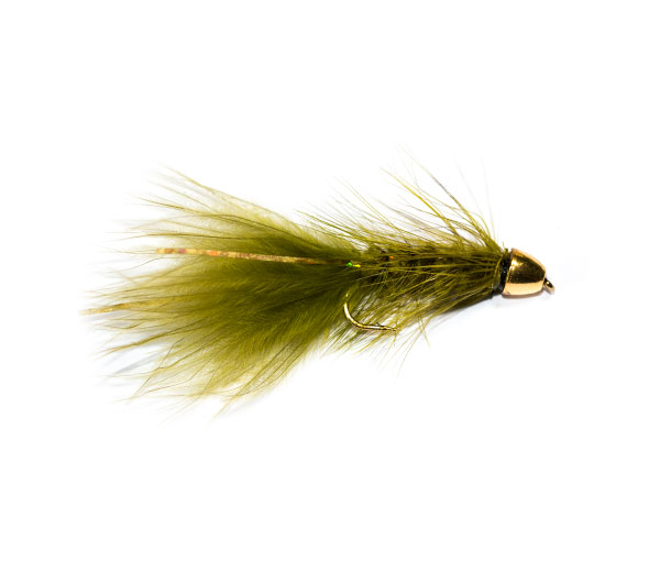 Fish Fishing Flies Brand Quality Olive Flash Gold Bullet Head.