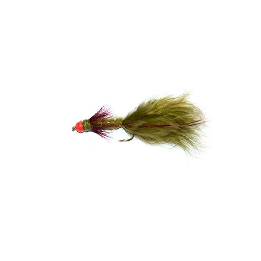 olive and red flash head damsel fishing fly