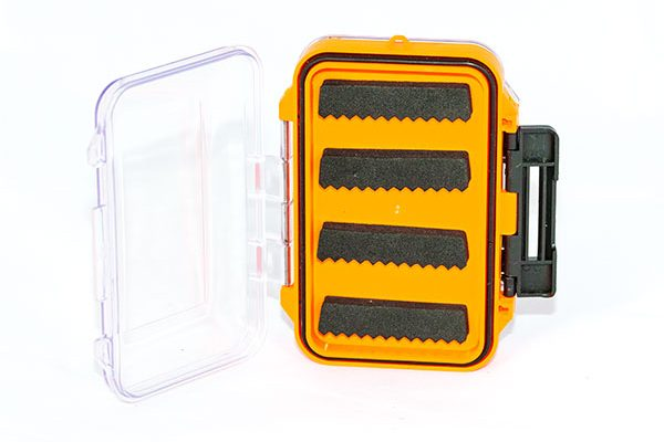 Waterproof acrylic fly box holds 88 flies