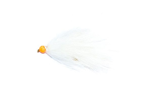 white and orange hothead apache fishing fly