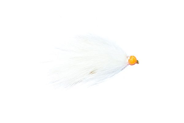 white and orange hothead apache fishing flies