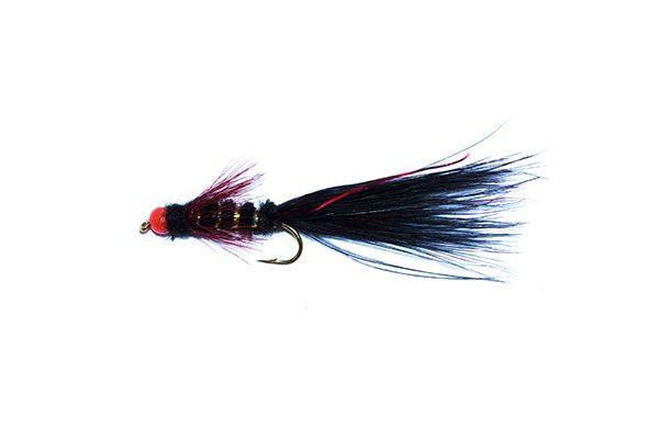 fishing flies hot head black and red flash damsel
