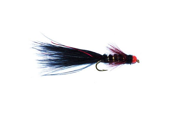 fishing fly hothead black and red flash damsel