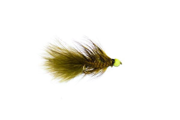 olive hothead green tadpole lure fishing fly