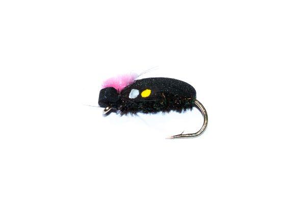 trout fishing flies Target Foam Beetle Pink SJC Jungle Cock Cheeks