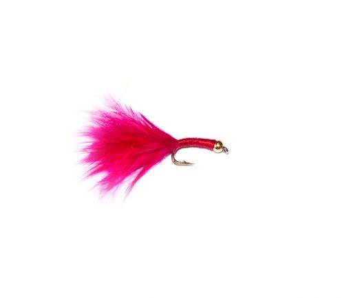 fish fishing flies uk cerise marabou blood worm fishing fly with gold bead head