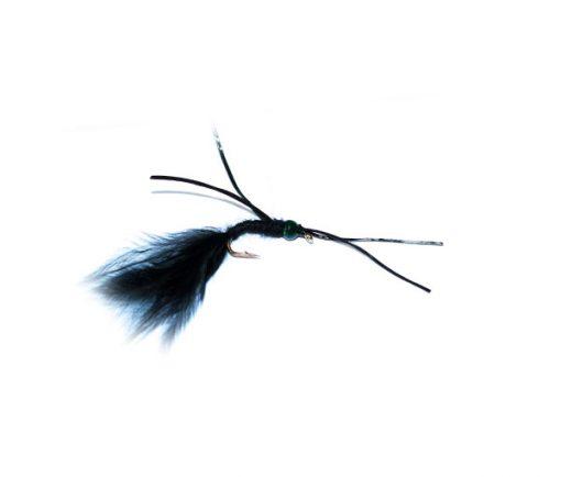Fish Fishing Flies Trout Flies UK branded Quality Green Head Black Critter Worm