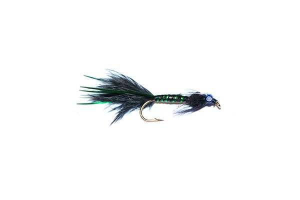 Fish fishing flies branded quality black and green epoxy flash damsel nymph fishing flies