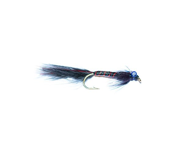 The ultimate in high quality Uk trout fishing flies. The black flash expoy black and red damsel nymph