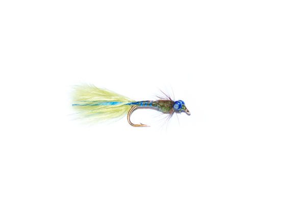 fish fishing flies branded UK fishing fly quality. olive and blue epoxy flash damsel nymph fishing flies.