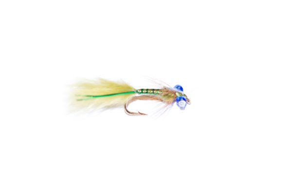 fish fishing flies branded quality trout fishing flies. Olive and green epoxy flash damsel nymph.