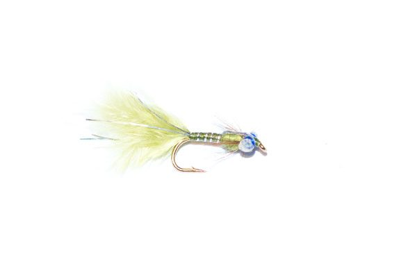 fish fishing flies branded quality olive and silver epoxy flash damsel nymph