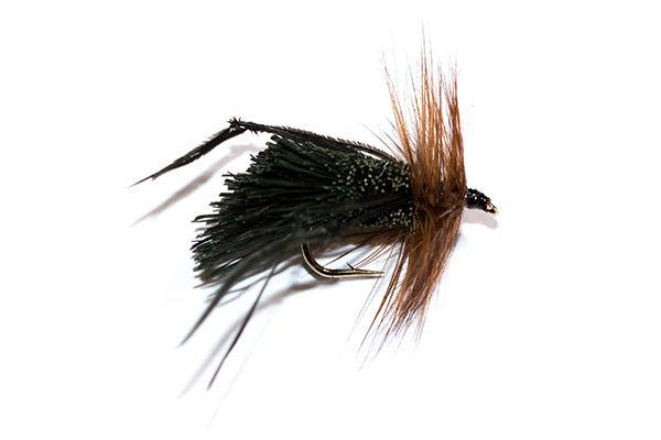 Fish Fishing Flies Black Deer Hair Sedge Hopper Brown Hackle