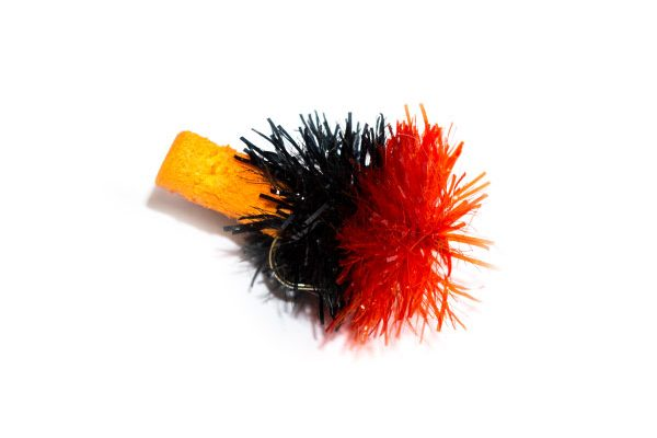 Fish Fishing Flies Black Red and Orange Foam Blob.