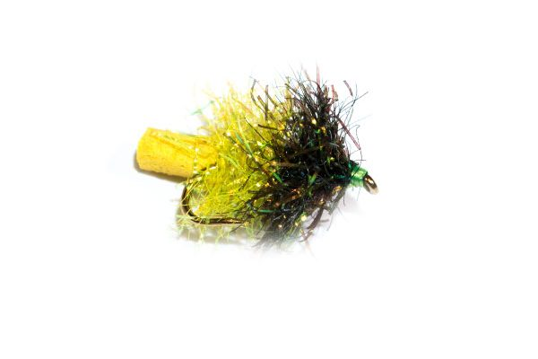Fish Fishing Flies Black and Lime Sparkle Yellow Tail Foam Blob