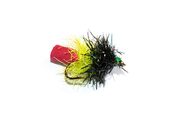 Fish Fishing Flies Black and Yellow Sparkle Foam Blob