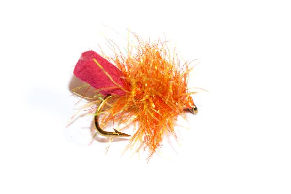 Fish Fishing Flies Dark Coral Sparkle Foam Blob