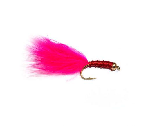 Fish Fishing Flies Brand Goldhead Pink Marabou Bloodworm
