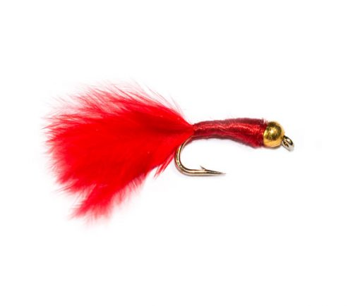 Fish Fishing Flies Goldhead Red Ribbed Bloodworm Marabou.