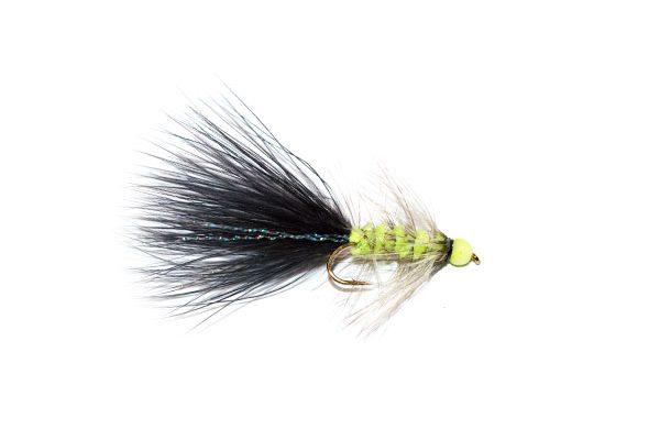 Fish Fishing Flies Hot Head Black and Lime Tadpole