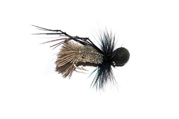 Fish Fishing Flies Brand, Natural Goddard Caddis Black Booby Head Hopper