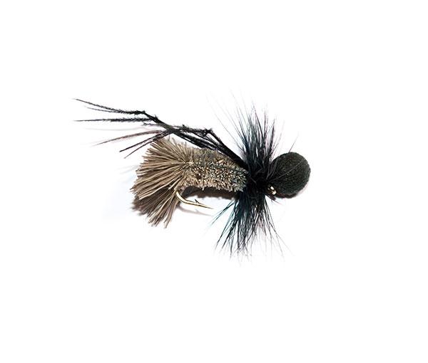 Fish Fishing Flies Brand, Natural Goddard Caddis Black Booby Head Hopper