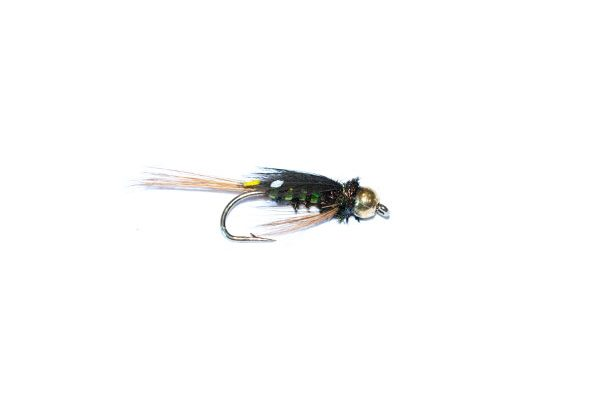 Fish Fishing Flies branded UK quality trout flies. Diawl Bach Green Holographic Goldhead Nymph.