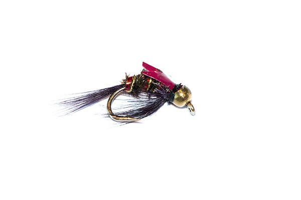 Fishing Flies Uk branded quality. Diawl Bach Red Holographic Goldhead Nymph