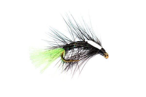 Fish Fishing Flies Brand. Black Snatcher Green Tag