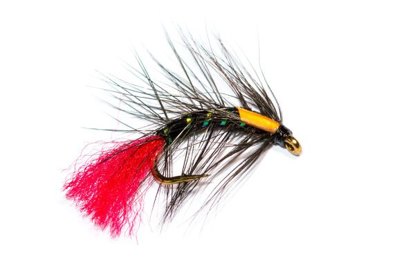 Fish Fishing Flies Brand, Black Snatcher Red Tag
