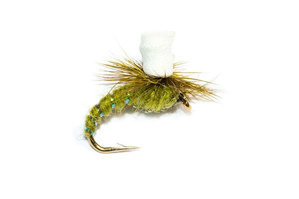 Fish Fishing Flies Brand Quality Trout Flies, Olive Suspender Parachute