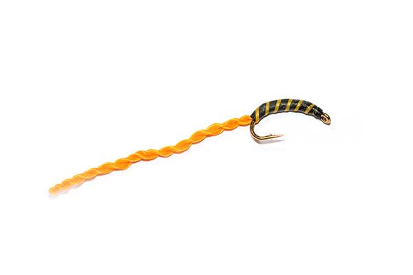 Amber Striped Orange Flexi Floss Bloodworm