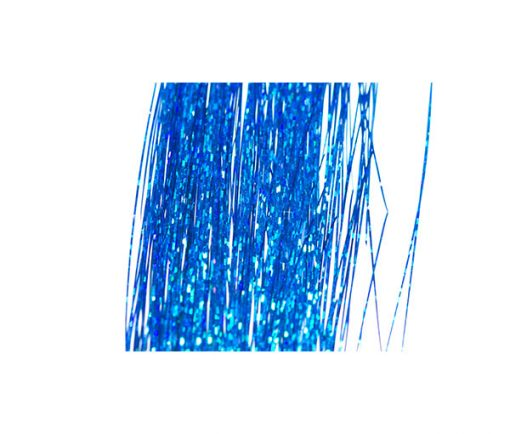 Blue holographic tinsel which is ultra reflective.