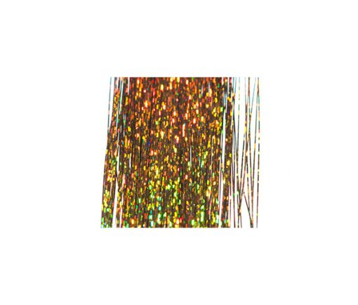 Bronze holographic tinsel which is ultra reflective.
