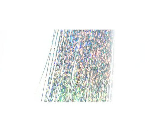 Silver holographic tinsel which is ultra reflective.