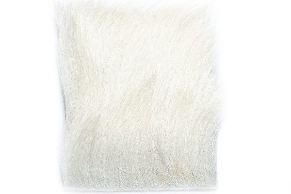 Claf Hair for use on parachute wings, Calf Hair Patch White 75mm x 60mm aprx