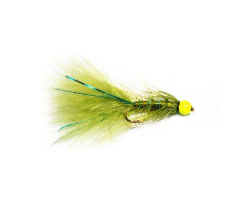 Buy Fishing Flies online at Fish Fishing Flies, Hi Vis Green Hot Head Blue Flash Damsel