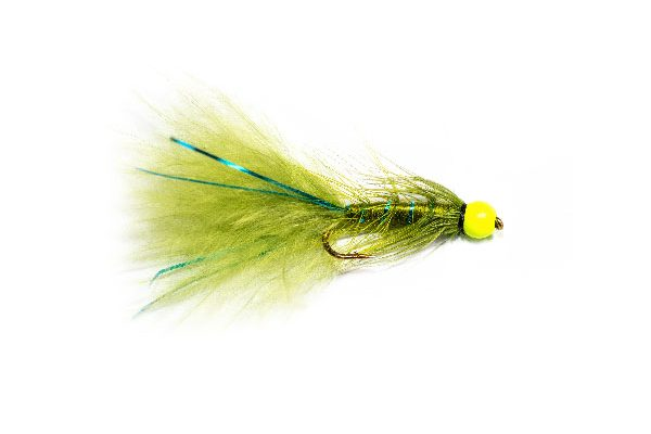 Buy Fishing Flies online at Fish Fishing Flies, Hi Vis Green Hot Head Blue Flash Damsel