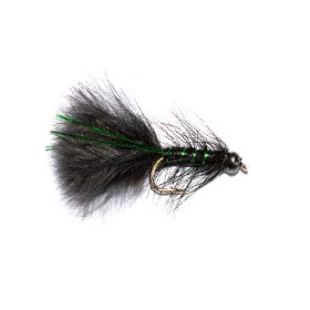 Black Head Black and Green Flash Damsel Nymph Fishing Fly.