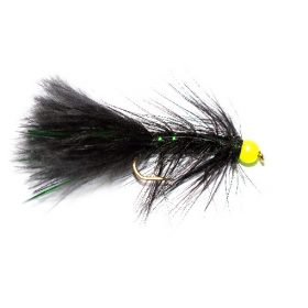 Fishing Flies, Hi Vis Green Hot Head Black Green Damsel.