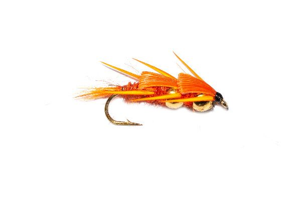 Fish Fishing Flies, Orange Creeper Twin Gold Nugget