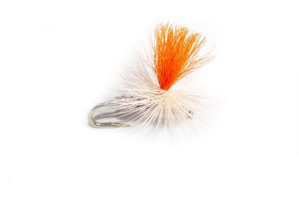 White Moth Orange Hot Spot Parachute Fishing Fly