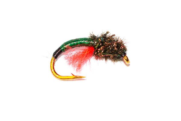 Trout Fly, Peacock Head Green with Black Butt Crisp Packet Epoxy Buzzer