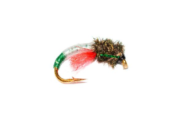 Trout Fishery Flies Peacock Head White with Green Butt Crisp Packet Epoxy Buzzer