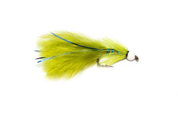 White Hot Head Blue Flash Damsel Trout Fly