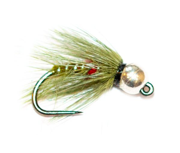 Fishing Fly - Silver Tungsten Nymph Olive Bibio Spider